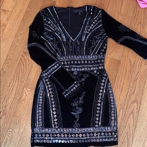 Stretch Velvet Embellished Dress